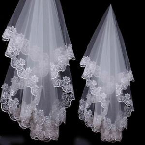 1-5M-White-Wedding-Party-Bridal-Veils-Lace-Flower-Headwear-Accessories-Gift