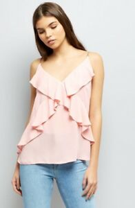 New-Look-Pale-Pink-Frill-Trim-Front-Cami-Top-Size-8-BNWT