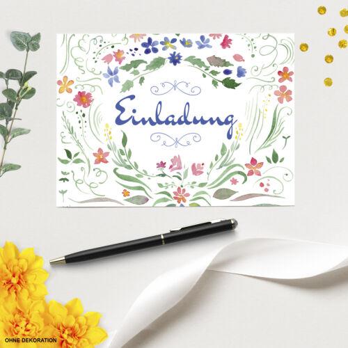 12 x Einladungskarten 12 Umschläge Motiv Geburtstag aquarell Blumen Einladung