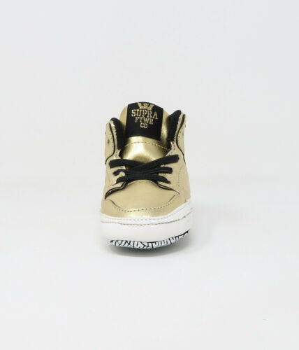 Supra Cribs Baby Booties Shoes Toddlers Infants Vaider Metalic Gold Black White