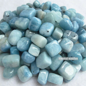 1//2LB Natural Tumbled Blue Aquamarine Cube Stone Crystal Rock Quartz Gem 30-35PC