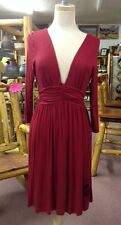 Women's Cowgirl Tuff Dark Red VNeck Empire Dress, Sz Small