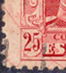 Espagne-1922-roi-Alfons-XIII-25-C-Karmin-Gest-Pra-Piece-corindon-traits