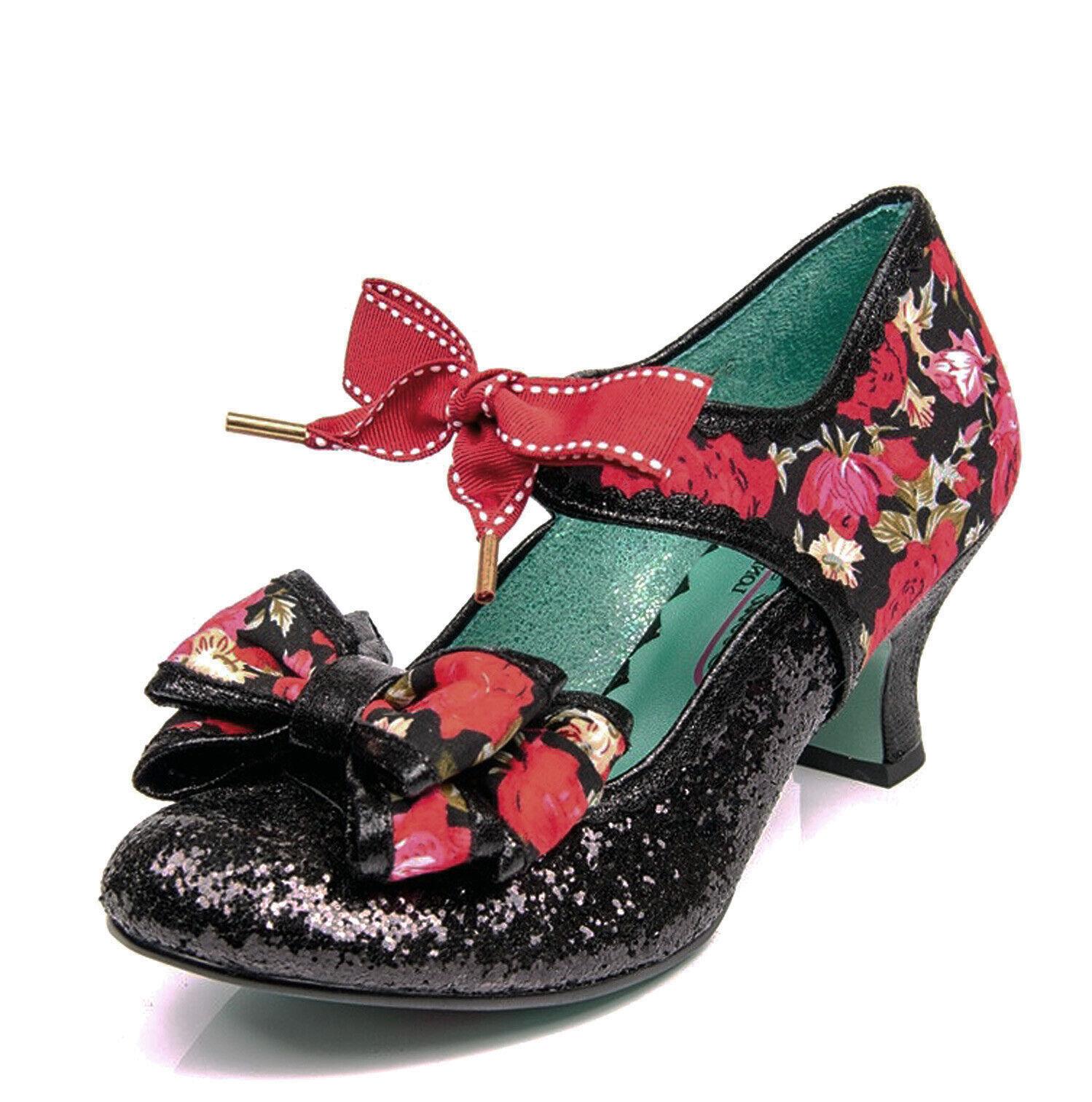Poetic Licence Nouveau APPLE SPICE Paillettes Noir Rouge Floral Mi Talon Chaussures Tailles 3-9