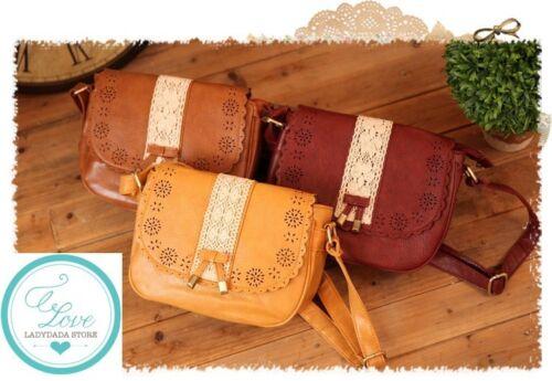 JAPAN Sweet Ribbon Bowknot Lace Crossbody Leather Satchel Handbag Vintage Bag