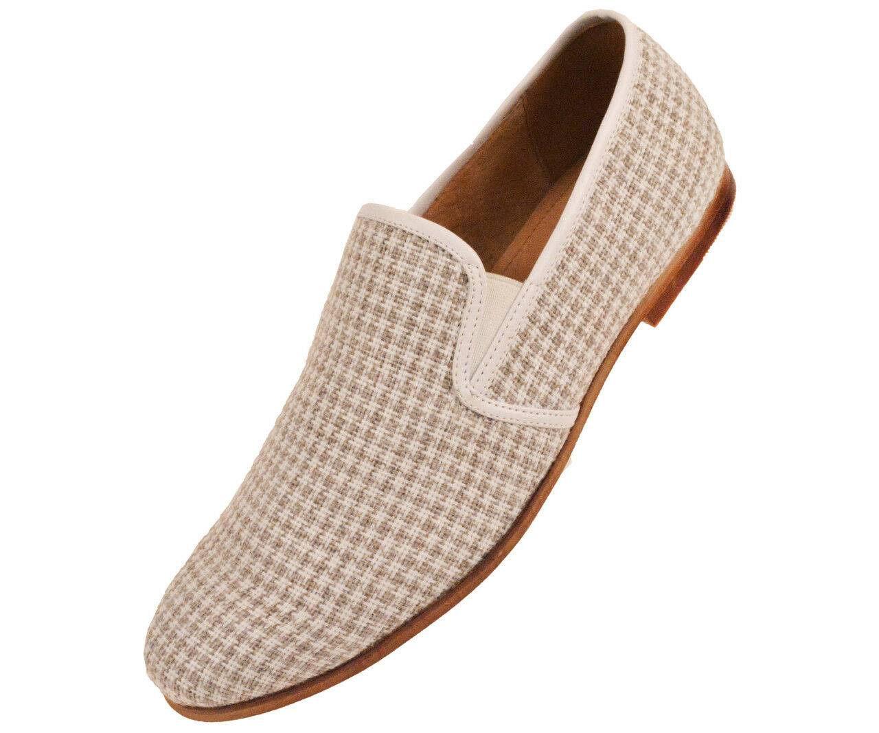 New Mens Taupe & White Houndstooth Knit Slip On Dress Casual Loafer shoes SUMMER