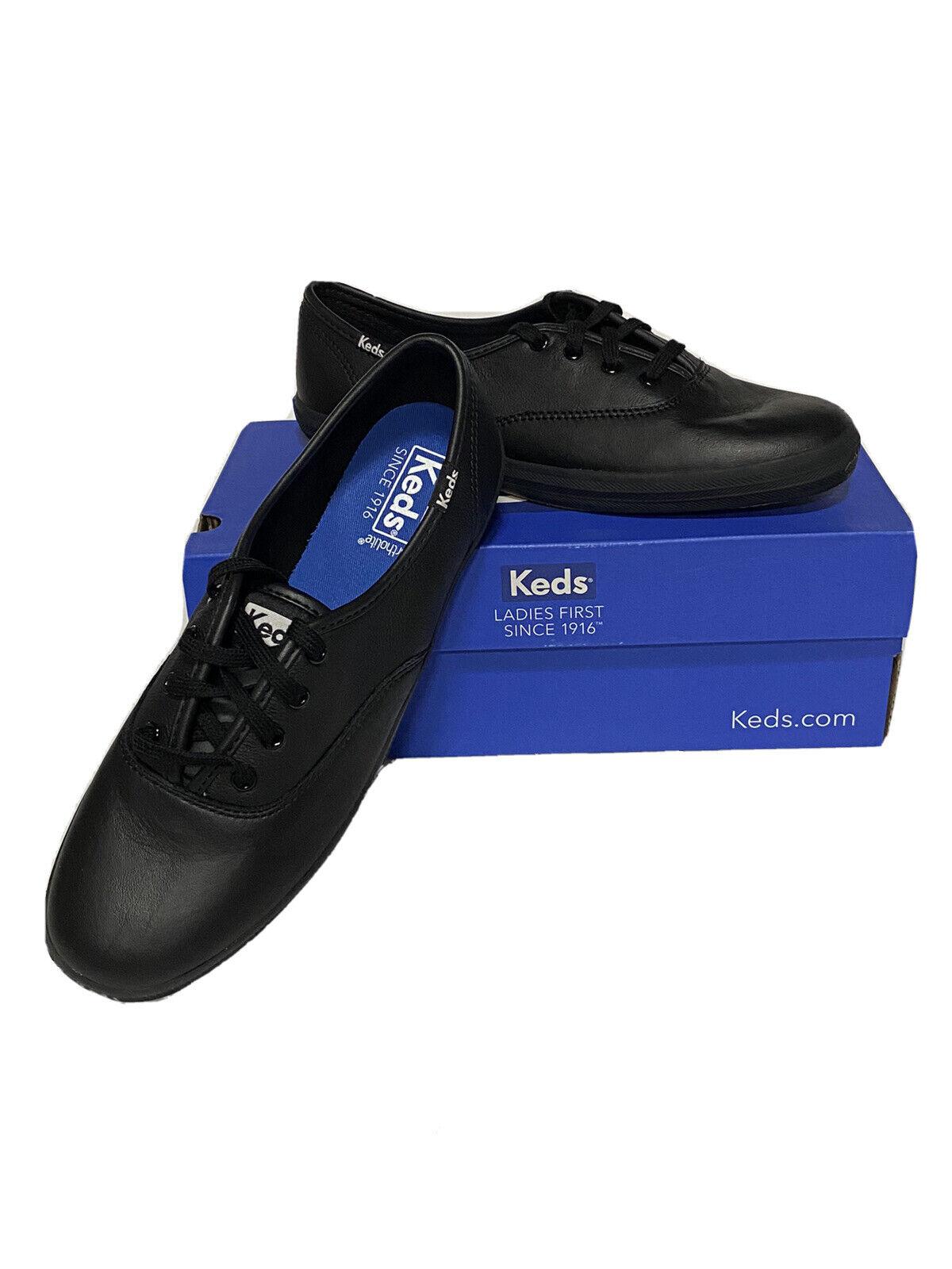 Keds Ortholite Champion Oxford Leather Shoes Womens Sz 7.5 M Black NEW NIB