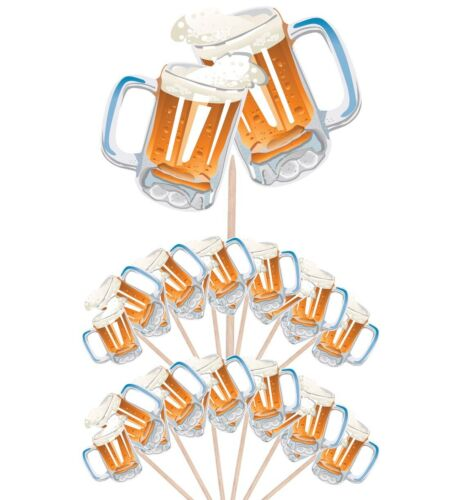 Beer Pint Party Food Cup Cake Picks Sticks Flag Birthday Decorations Toppers