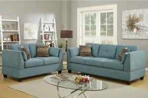 2pc Sofa Set Modern Sofa Couch Loveseat Blue Velveteen Cushion Tuft Back & seat