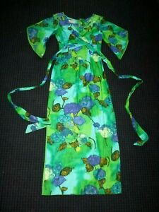 Vtg-McInerny-Of-Hawaii-Hawaiian-Maxi-Dress-Green-Blue-Wrap-Bodice-Sz-Small