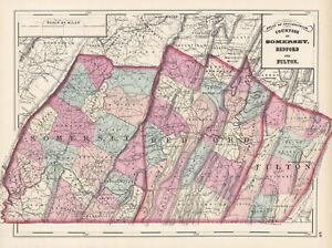 1872-Map-of-Somerset-Bedford-amp-Fulton-Counties-Pennsylvania-Original