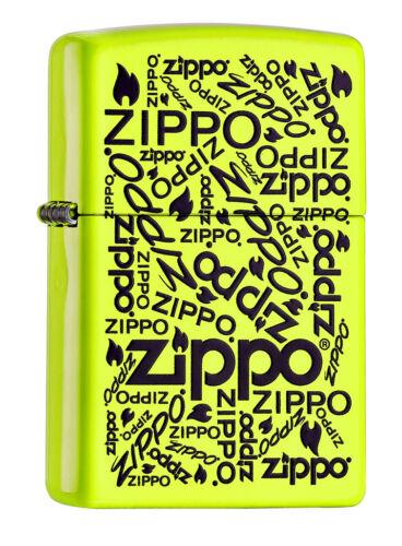 ZIPPO Feuerzeug ZIPPO LOGOS NEON LEMON Logo Schriftzug NEU OVP Sammlerstück!!