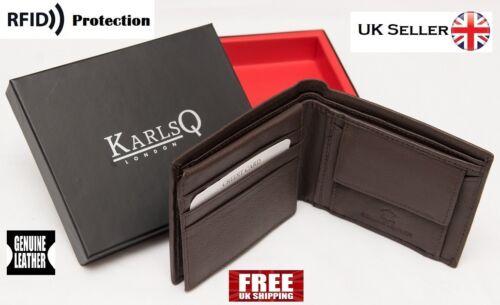 RFID blocking Homme Designer KarlsQ-London Authentique Pure réel portefeuille en cuir marron