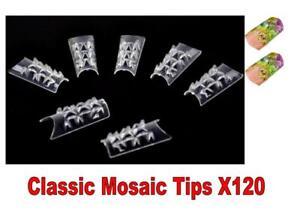 CLASSIC-MOSAIC-clear-nail-tips-uv-false-set-X120-nails-art-3D-diamond-patterned