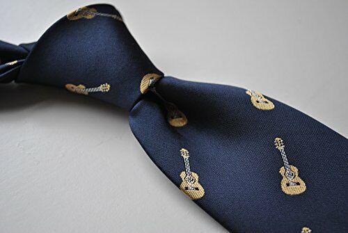 Bleu Marine Homme Cravate avec logo brodé sur guitare acoustique Imprimer Par Frederick Thomas FT1522