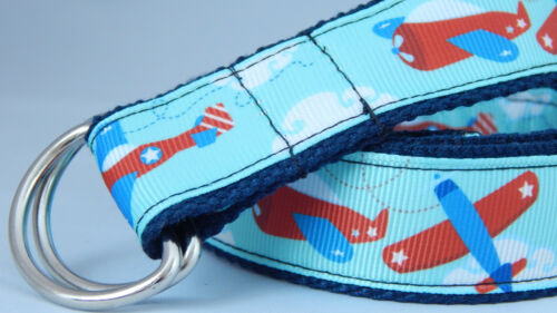MANY SIZES Planes toddlers belt hook and loop D-ring Handmade boys girls belt