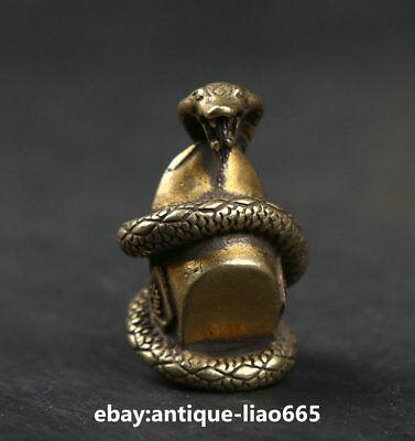 30MM Small Curio Chinese Bronze Zodiac Animal Snake Yuanbao Money Wealth Statue
