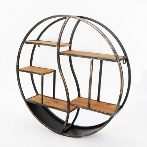 Round Vintage Wall Unit Retro Wood Industrial Style Metal Shelf Rack Storage Top