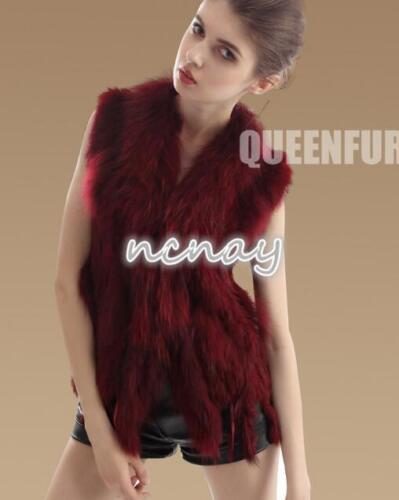 Womens Chic Faux Fur Coat Fur Collar Gilet Winter Knit Vest Outwear Waistcoats
