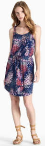 Women-039-s-Lucky-Brand-Blue-Red-Purple-Floral-Printed-Twist-Strap-Dress-Size-L-EUC