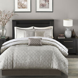 Image Is Loading Beautiful Modern Contemporary Design Chic Silver Grey Comforter