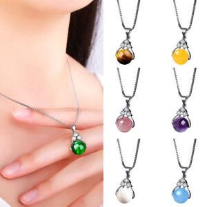 Eg-Moda-Cristallo-Finte-Pietre-Preziose-Perlina-Ciondolo-Donna-Collana