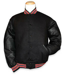 Black Varsity Letterman Jacket With Red White Stripes Ebay