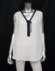 564276aff3b800 Details about INC WOMAN NWT White Black Trim Tie V-Neck Sleeveless Blouse  Plus sz 14W  69