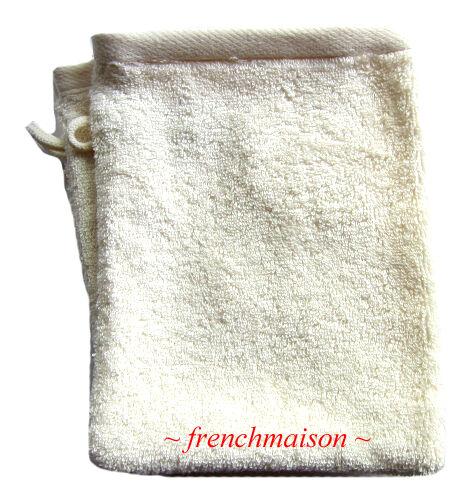2 Garnier Thiebaut Gant Mitt Washcloth FRENCH TOWEL Antibacterial Soft OFF WHITE