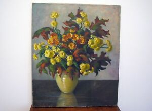 LARGE-FLORAL-STILL-LIFE-OIL-PAINTING-BY-KANSAS-CITY-ARTIST-GRACE-BLISS-STEWART