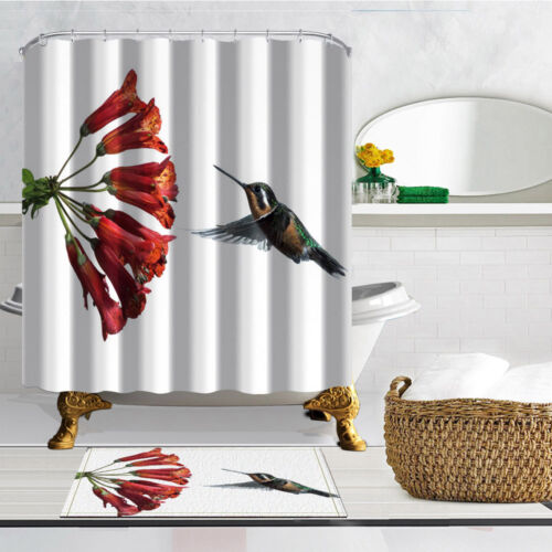 The Hummingbird Theme Waterproof Fabric Home Decor Shower Curtain Bathroom Mat