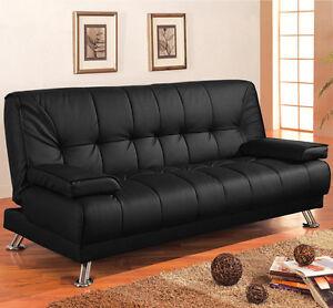 Sofa divano letto reclinabile salotto ecopelle nero 3 posti soggiorno e cuscini ebay - Divano letto 3 posti economico ...