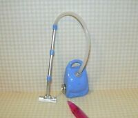 Miniature Heavy Metal Blue Vacuum Cleaner With Hose, Wheels For Dollhouse 1/12