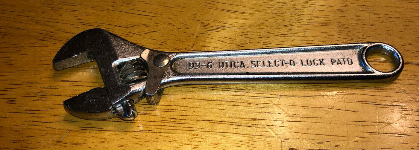 ,VINTAGE UTICA 93-6 SELECT-O-LOCK 6 INCH ADJUSTABLE WRENCH WITH LOCK -- RARE--