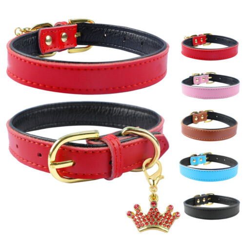 Cheap Price PU Leather Dog Collar with Crown Pendant Adjustable Padded Collars