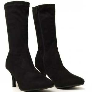 9b5136a58a1fb BLACK STRETCH SOCK KITTEN HEELED HEELS ANKLE BOOTS SHOES SIZE 3 4 5 ...
