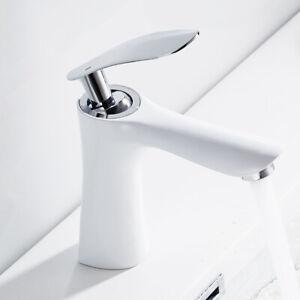 Elegant-Badarmatur-Waschtischarmatur-Mischbatterie-Weiss-Wasserhahn-Badezimmer
