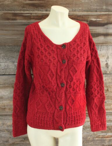 Inis Crafts Red Cable Knit Sweater