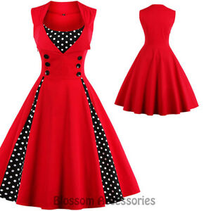 d57711a916 Image is loading K281-Red-Retro-Rockabilly-Vintage-Polka-Dots-Swing-