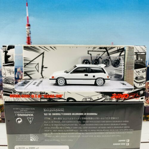 """INNO64 1//64 JDM COLLECTION HONDA CIVIC SI E-AT WHITE /""""OSAKA JDM/"""" with Extra Whee"""