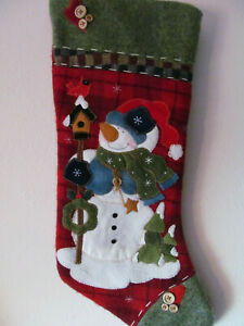 Embroidered Snowman Green Blue Red Plaid Christmas Stocking Wool Velvet Buttons Ebay