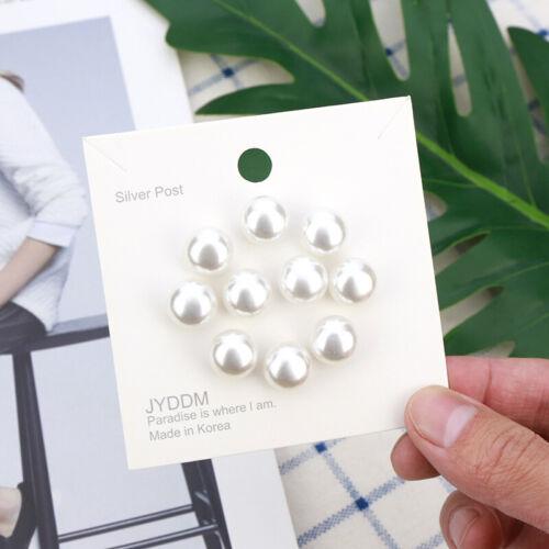 10X Women Metal Pearl Brooch Pin Hidden Buckle Button Fastener Accessory