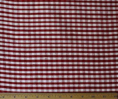 """Red/White Dupioni Checks 100% Silk Fabric 44"""" Wide, By The Yard (SD-624A)"""
