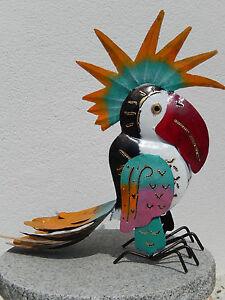 Grosser-bunter-Papagei-aus-Metall-Tukan-Kakadu-Dekoration-Eisen-Tier-Blechfigur