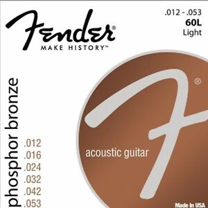 Fender-60L-Acoustic-Guitar-Strings-Light-Set-12-53-Phosphor-Bronze-Ideal-Strings