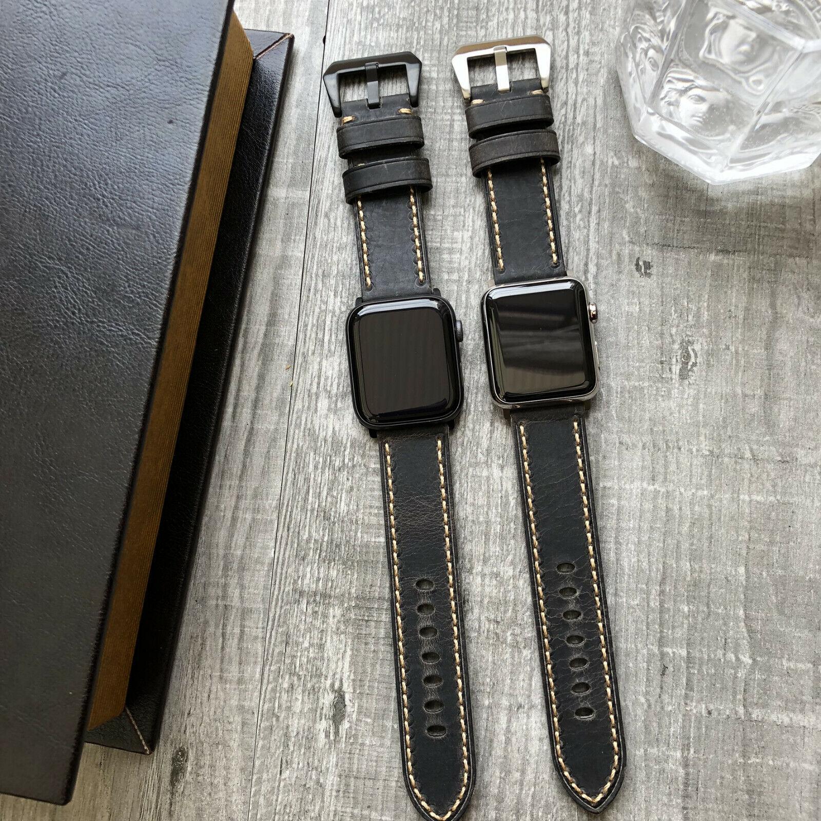 iwatch: Per Orologio Apple Serie 6 Se 5 4 44mm Spesso Dark Grigio Pelle Iwatch Cinturino