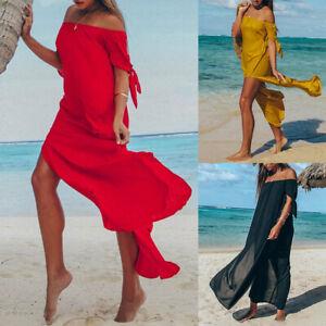 Women-039-s-Boho-Maxi-Long-Dress-Summer-Beach-Off-Shoulder-Casual-Split-Sundress