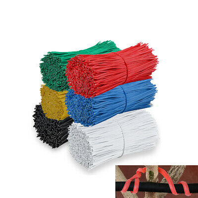 twist ties 1000pcs 150mm /& 100mm Blue Plastic Coated Wire ties yellow /& red