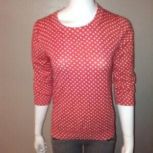 J-Crew-Knit-Top-Size-S-Small-Womens-Sweater-3-4-Sleeve-Polka-Dot-Peachy-Pink