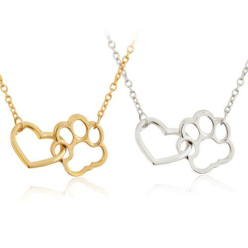 Halskette Herz und Pfote Pfötchen Hund Katze Haustier silber gold  Valentin #Pf5